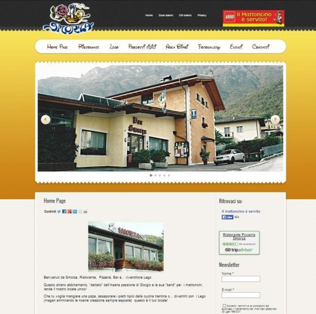 Sito web per  il ristorante, pizzeria Smorza di Trento, realizzato con WordPress  integra la newsletter - www.smorza.it