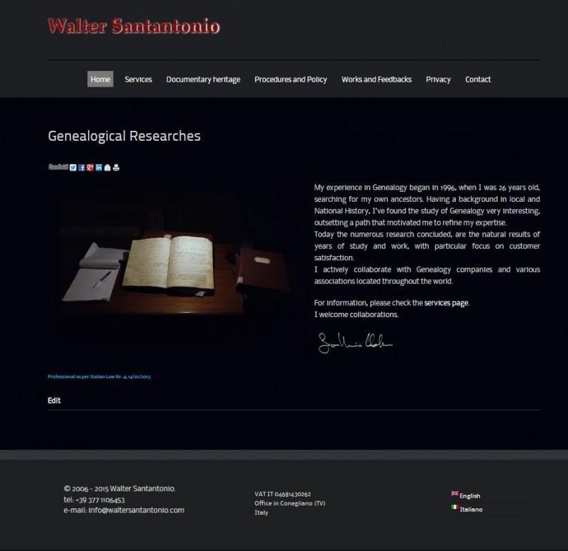 sito web bilingua realizzato su specifiche richieste minimaliste del cliente - www.waltersantantonio.com