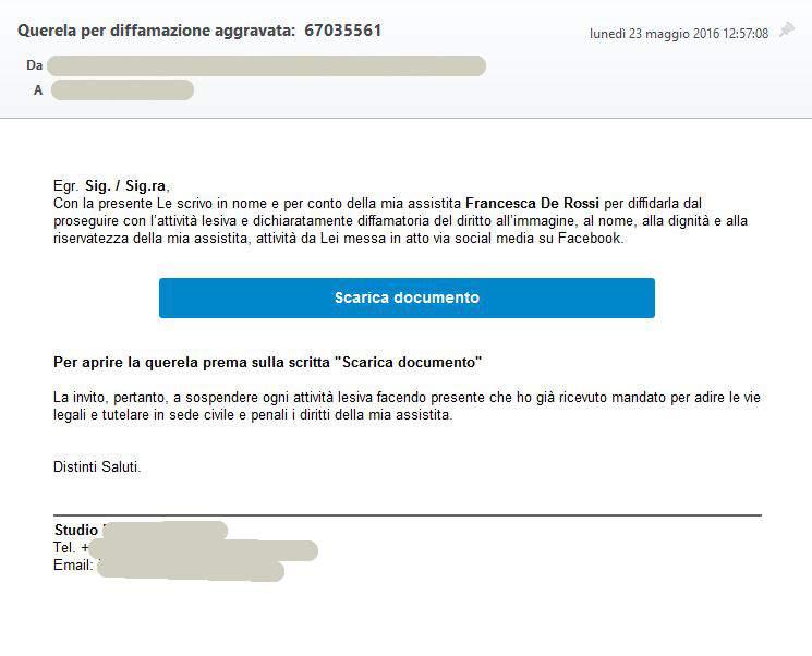 Falsa email denuncia aggravata diffamazione
