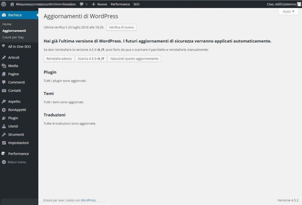 aggiornamenti wordpress compeltati