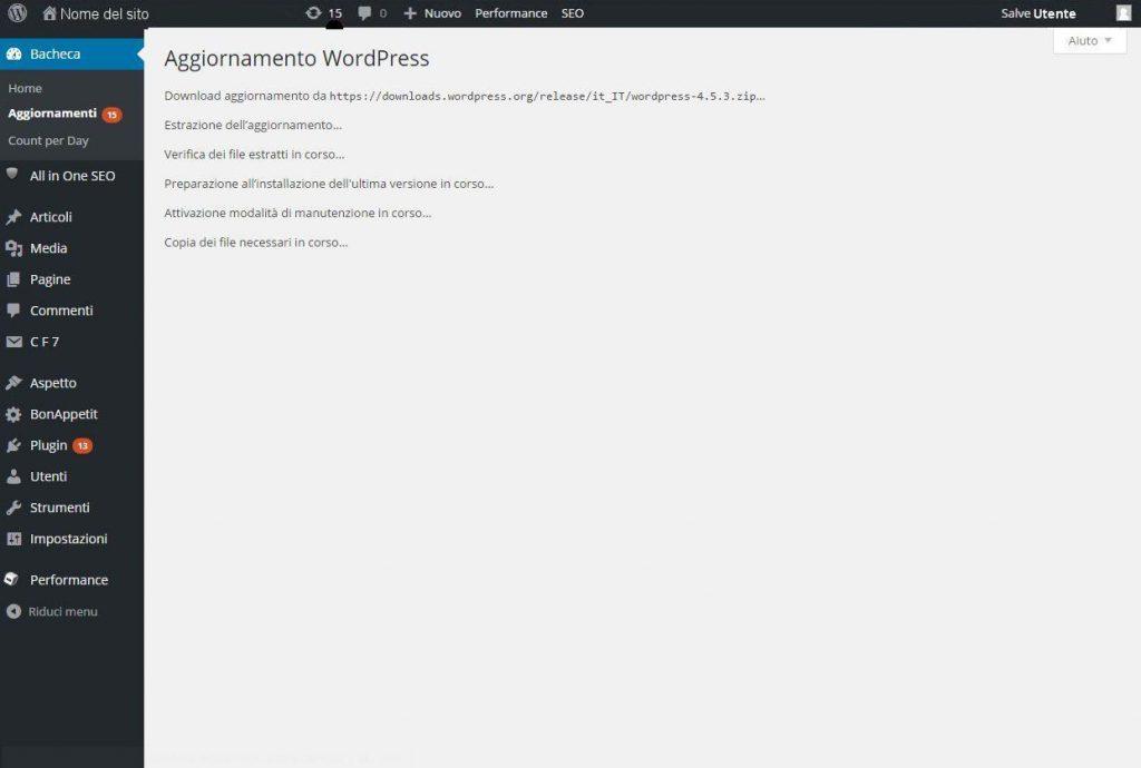 come si aggiorna WordPress