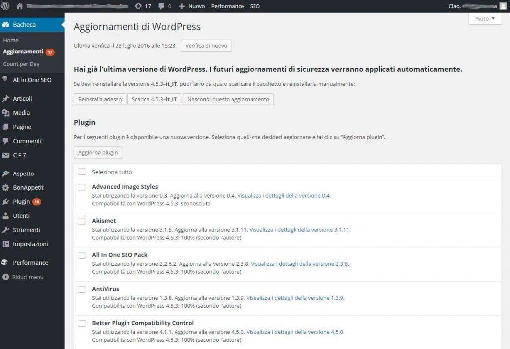 aggiornare plugin di WordPress