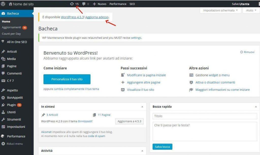 Come aggiornare WordPress